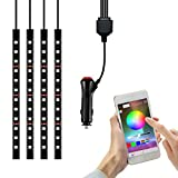 car lights for inside - Car LED Strip Light, YANF 4pcs 48 LED Bluetooth App Controller Multi Color Music Car Interior Lights Under Dash Lighting Kit with Sound Active Function for iPhone Android Smart Phones
