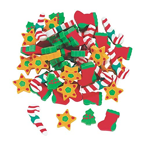 Fun Express Holiday Erasers (60 Pcs) - Basic School Supplies & Erasers & Pencil Toppers
