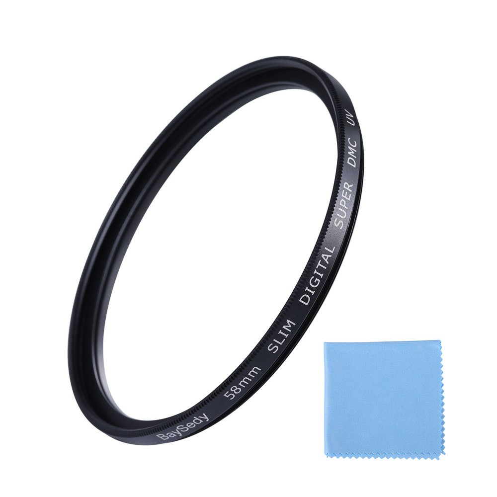 BaySedy 58mm DMC UV Filter Compatible Nikon Canon Sony Olympus Fujifilm Sigma Tamron Lens, Ultra-Slim, 16 Layers Multi-Coated, Ultra Low Reflection, High Definition, Waterproof, Lens Protector by BaySedy