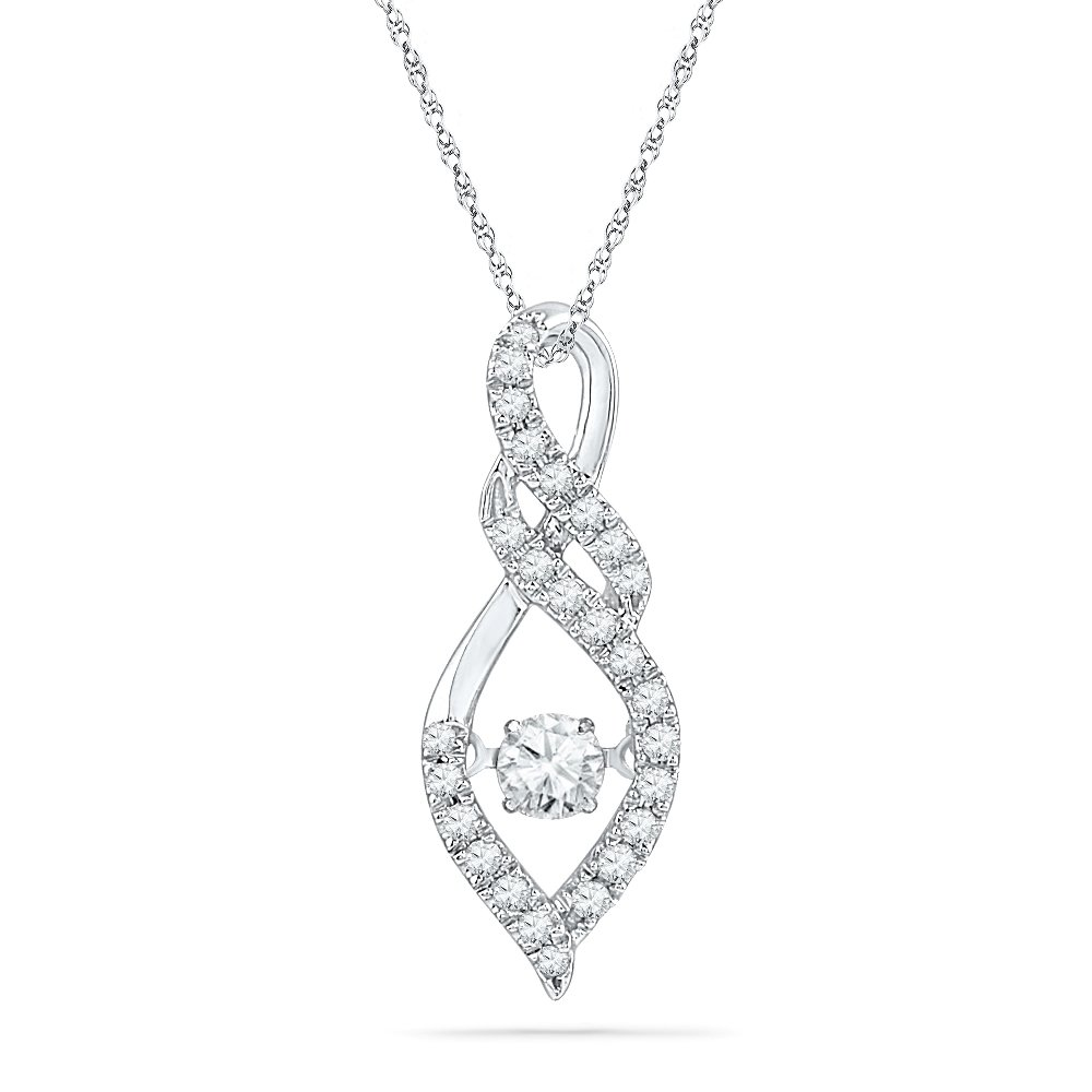 Sterling Silver Round Diamond in Motion Fashion Pendant (3/8 cttw)