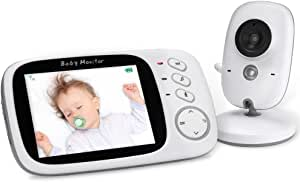 YOHOOLYO Baby Monitor Wireless 3.2 Inch Video Camera with Night Vision Two-Way Talk Support Voice Activation,Temperature Monitoring Built in Lullabies with AU Plug