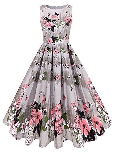 GAESHOW  1950s Retro Dress Floral Printed Hepburn Sleeveless Vintage Prom Dress for Women (Pink, XL)