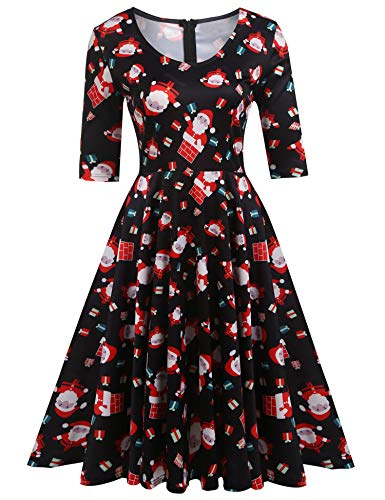 ELESOL Women Santa Claus with Gifts Printed Christmas Dress,XXL ()