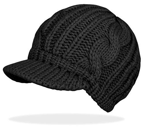 Schirmmütze Damen Mütze Strickmütze warme Wintermütze Ballonmütze in 4 Farben - A060 (Schwarz)