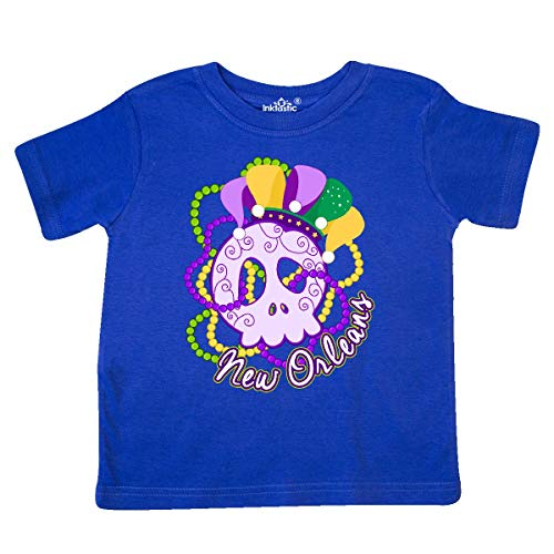 inktastic - Mardi Gras Sugar Skull Toddler T-Shirt 5/6 Royal Blue 25dc8