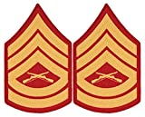 Gold on Red USMC Chevrons - Gunnery Sergeant - Male