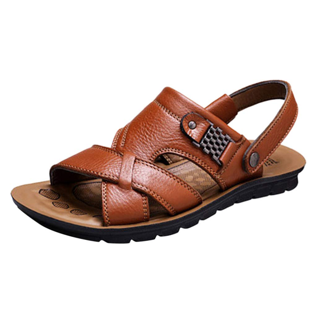 Sunhusing Men's Stylish Breathable Leather Beach Sandals Shoes Slides Outdoor Two-Wear Sandals Slippers Khaki by Sunhusing