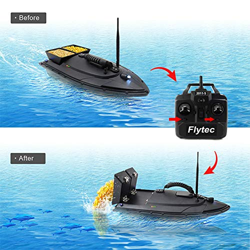 Auvem Remote Control Fishing Bait Boat, Fish Finder 1.5kg Loading 500m Fishing Tool Smart RC Boat Toy Wireless Smart Fishing Device Great Present Toy Beginners, Kids & Adults (Black) by Auvem (Image #4)