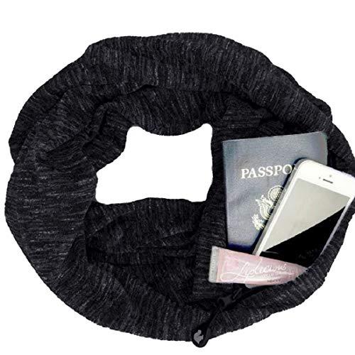 HULKAY Upgrade Premium Women Infinity Scarf With Zipper Pocket–Soft Stretchy Jersey(Black 2)