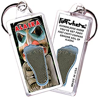 """product image for Alaska """"FootWhere"""" Keychain (AK101 - Totem Pole). Authentic Destination Souvenir acknowledging Where You've Set Foot. Genuine Soil of Featured Location encased Inside Foot Cavity. Made in USA"""