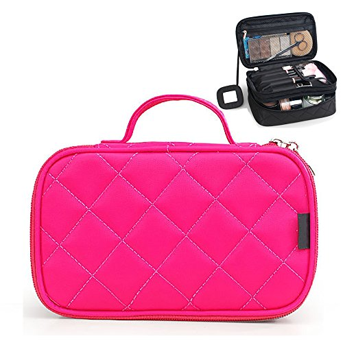 Lemoncy Travel Makeup Case Portable makeup Brush Bag Cosmetic Organizer Portable 2 layer Makeup Pouch Holder Preminm Makeup Storage Bag with Carry Handle for Cosmetics Brushes (Black RoseRed)