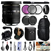 "Sigma 10-20mm F3.5 EX DC HSM Lens for Nikon (202306) includes 3 Piece Filter Set + Stabilizer Handle + Backpack + 67"" Monopod + Wrist Strap + Cleaning Kit + Lens Brush Pen + More"