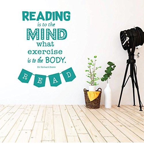 (Classroom Decorations for Teachers - Reading is Exercise to the Mind Vinyl Wall Signs Decal, Library Wall Decor - Homeschool Wall Decor - Wall Art for Schools, Classrooms, Libraries and)