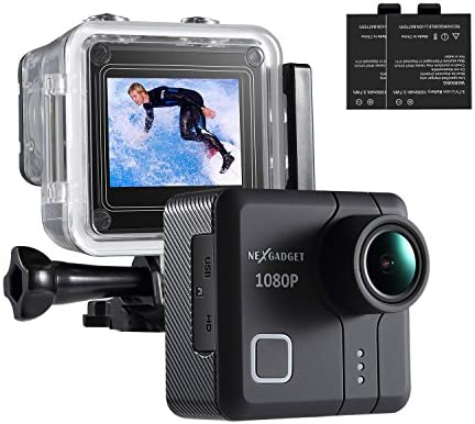 NEXGAGDET Action Cam 14MP 1080P Waterproof Sports Camera 170 Degree Ultra Wide-Angle Lens, 2 Pcs Rechargeable Batteries