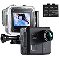 NEXGAGDET Action Cam 14MP 1080P Waterproof Sports Camera 170 Degree Ultra Wide-Angle Lens, 2 Pcs Rechargeable Batteries (Black)