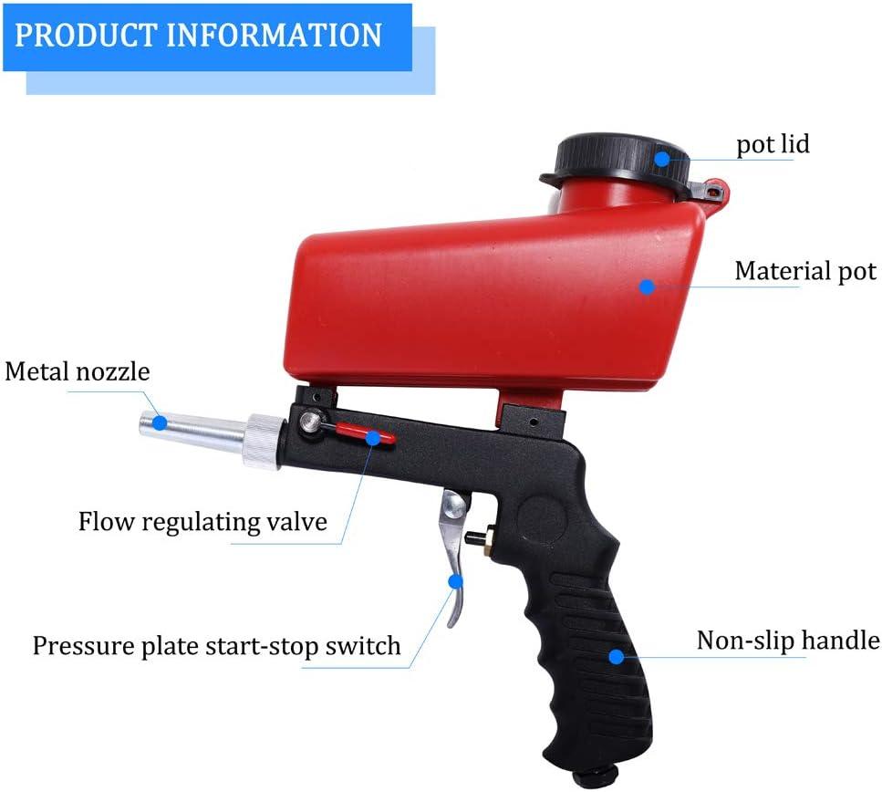 KKmoon Machine de Sablage Portable Gravity Pneumatique Ensemble Maison DIY Mini Sablage Dispositif 90psi Sableuse Antirouille R/églable SY-7365R