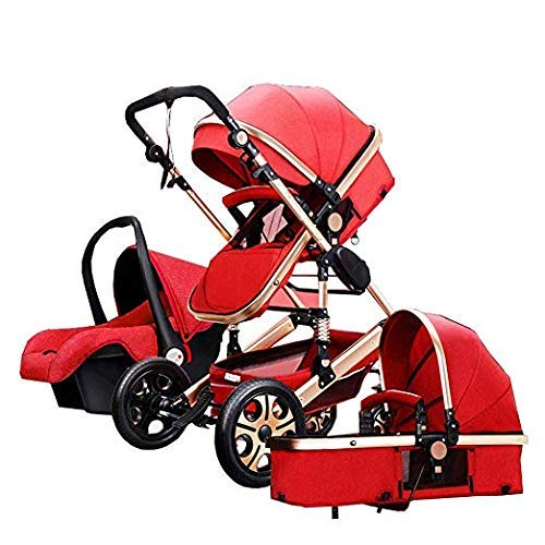 Folding Lightweight Waterproof Mom 3 in 1 Travel System Bassinet Combo Pushchair Baby Stroller for Home Travel (Light red)