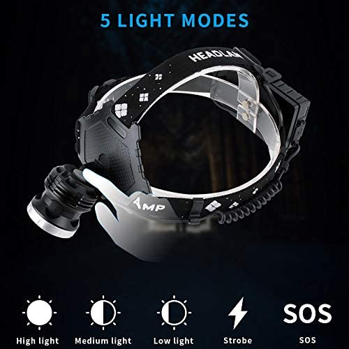 whbage LED Headlamp Led Headlamp 5-mode Zoom Headlight 4000lm High Power Flashlight Rechargeable Camping Hunting Head Torches