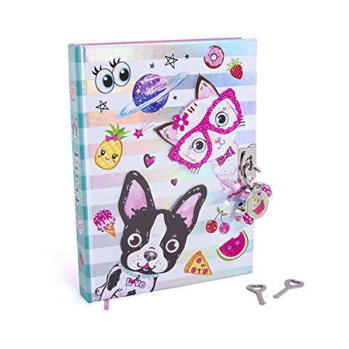 Hot Focus Best Pals Secret Diary - 7 French Bulldog & Kitten Theme Journal Notebook with 300 Double Sided Lined Pages, Padlock and Two Keys for Kids