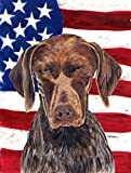 Caroline's Treasures SC9034CHF USA American Flag with German Shorthaired Pointer Canvas House Flag, Large, Multicolor