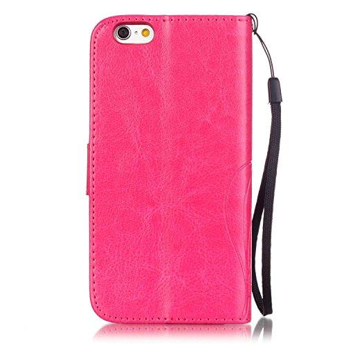 SRY-Bolsa para teléfono móvil Con ranura para tarjetas, cordón, presión Hermoso patrón de moda abrir el teléfono celular Shell para Apple IPhone 7 ( Color : Rose , Size : IPhone 7 ) Rose