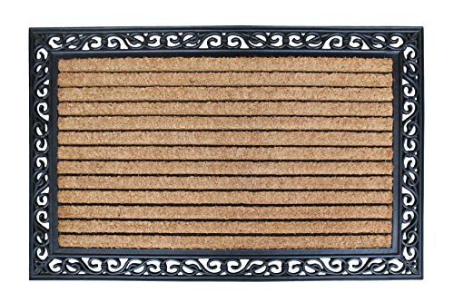 A1HC FIRST IMPRESSION Striped Doormat |Rubber and Coir Doormat | 30 x 48 Inch | Standard Double Doormat |Natural Fade | Large Size Doormat |Rubber Backed | Outdoor Mat