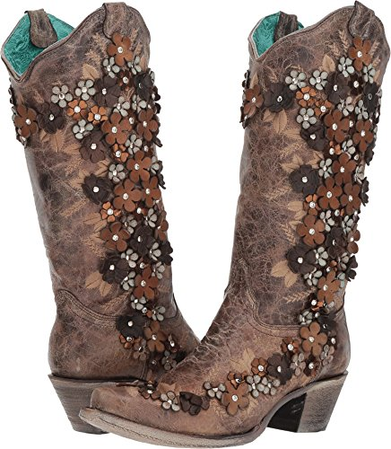 CORRAL Women's Tobacco Floral Overlay Embroidered Stud and Crystals Cowgirl Boot Brown 8 M