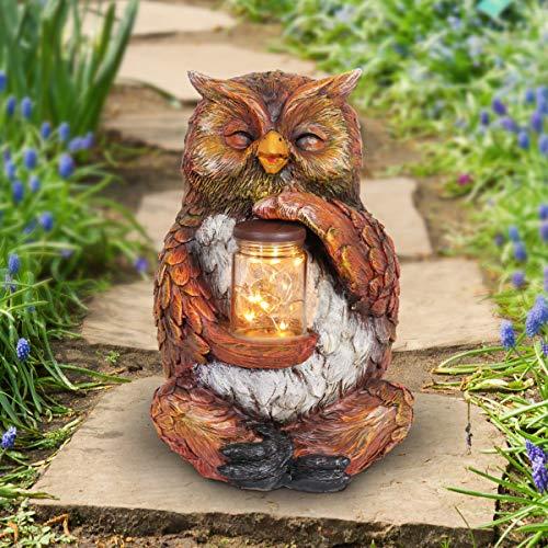 "Exhart Solar Owl Garden Statue with LED Firefly Lights Glass Jar - Owl Statue Holding a Mason Jar w/Firefly String Lights - Owl Decor for Garden, Yard, Patio, 7"" L x 6"" W x 11""H"
