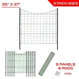 The Patio Shop 25'' x 27.5'' - 5 Panels Garden Zippity Wire Picket Fence Panel Border Barrier - Set of 3
