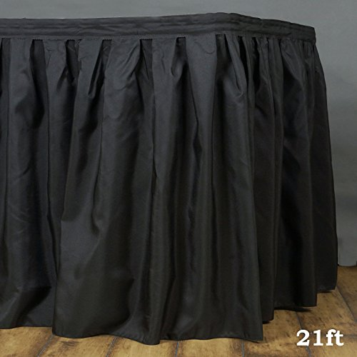 (LinenTablecloth 21 ft. Accordion Pleat Polyester Table Skirt Black)