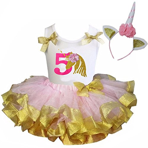 Kirei Sui Girls Petal Satin Trimmed Tutu & Birthday Unicorn M ()