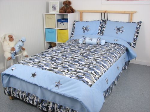 Blue Camouflage Twin Kids Childrens Bedding Set 4 ()