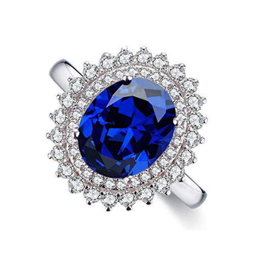Chic Code Sterling Silver Created Blue Sapphire Engagement Ring for Women (white-gold-plated-silver, 7) (Sapphire Created Ring Lab)