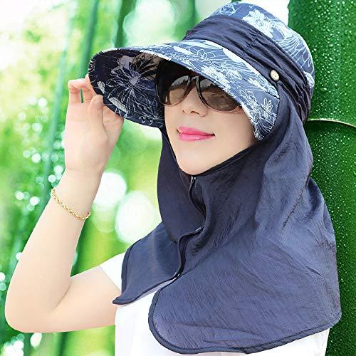 (YangXu Hat - Ladies Summer Sun Hat Foldable Outdoor Windproof Facial Neck Sun Hat Riding Electric Vehicle Omni-Directional Sunshade Sun Hat (4 Colors) Lady Sun hat (Color : Blue))
