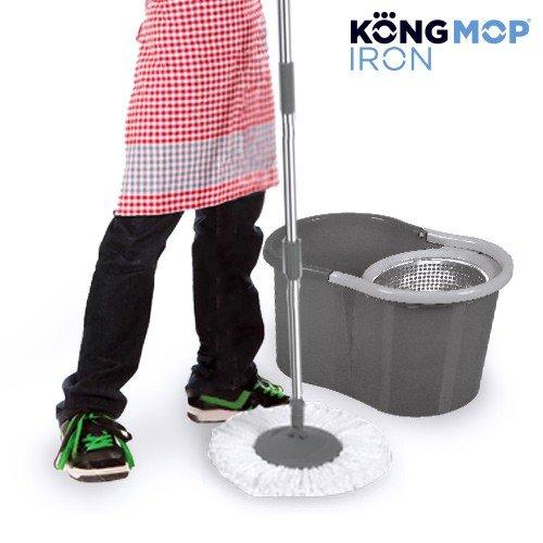 35 opinioni per Mocio Rotante Kong Mop Iron con Secchio in Plastica Grigia, Filtro Acciaio Inox,