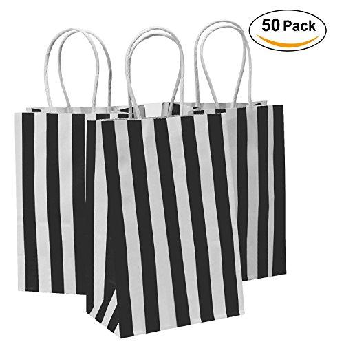 Road 5.25x3.25x8 Inches 50pcs Black Stripes Kraft Paper Bags, Retail bag, Merchandise Bag, Gift Bag, Party Bag by Road