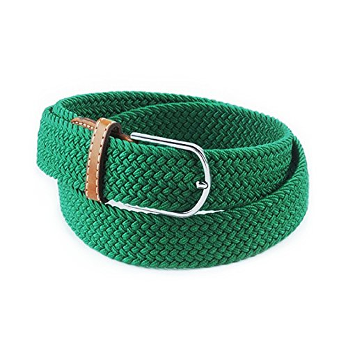 [AStorePlus Comfortable Braided Belts, Unisex Canvas Elastic Fabric Woven Stretch Multicolored Braided Belts With Silver Metal Buckle, Green] (Round Covered Buckle Belt)