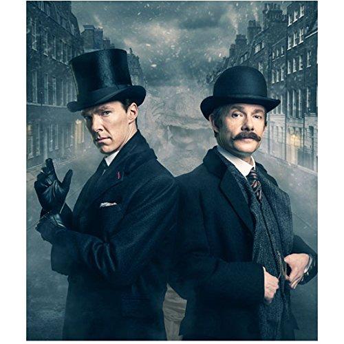 Sherlock Photo 8 inch x 10 inch PHOTOGRAPH Benedict Cumberbatch Top Hat & Martin Freeman Bowler Hat Foggy City...