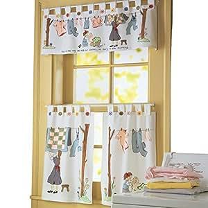 Amazon Com Nostalgic Laundry Room Cafe Curtain Set