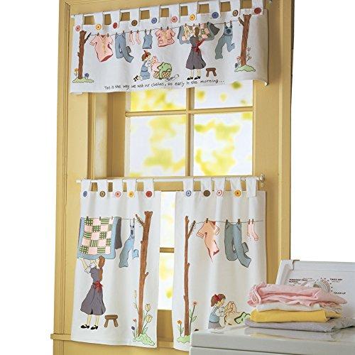Nostalgic Laundry Room Cafe Curtain Set, Machine Washable, Polyester