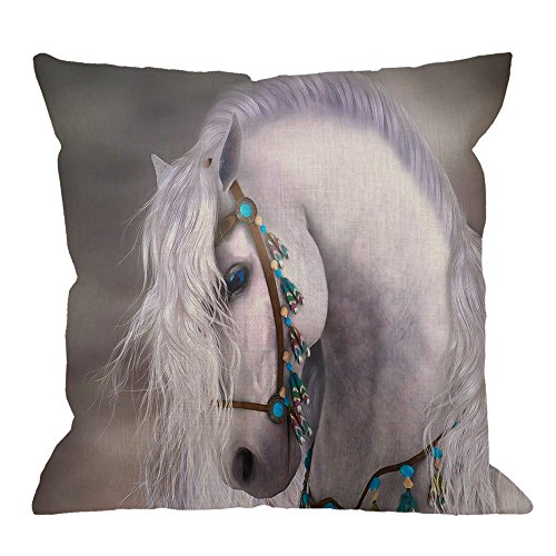 HGOD DESIGNS Horse Pillow Case,Beautiful African White Horse Cotton Linen Cushion Cover Square Standard Home Decorative for Men/Women 18x18 inch White Gray ()