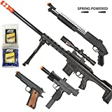 BBTac Airsoft Gun Package - Long Range Sniper - Collection of Airsoft Guns - Powerful Spring Sniper Rifle, Shotgun, SMG, Mini Pistols and BB Pellets, Great for Starter Pack Game Play