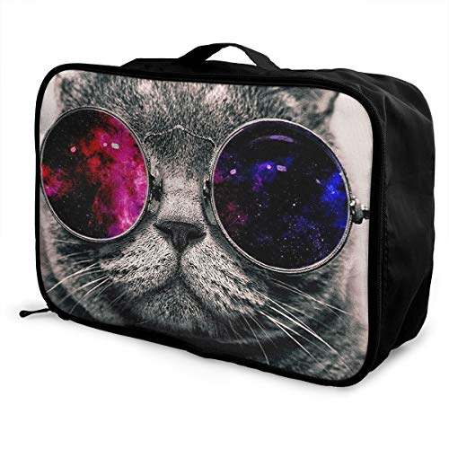 Lightweight Large Capacity Portable Luggage Bag Red Black Glass Personality Cat Kitty Travel Duffel Bag Backpack -
