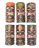6 Tiki Masks, Headdress of Fire, Sun, Palm, Dolphins, Gecko, Sea Turtle