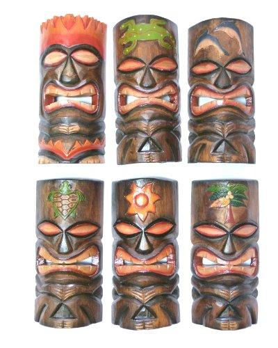6 Tiki Masks, Headdress of Fire, Sun, Palm, Dolphins, Gecko, Sea Turtle