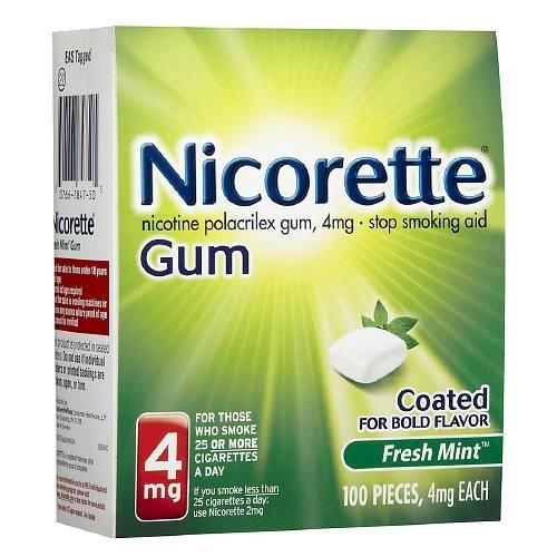 Mint Fresh 4mg Nicorette - Nicorette Nicotine Gum, 4mg, Fresh Mint 100 ea