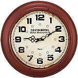 Relógio de Parede Grand Hotel Vermelho em Metal - 42x6,5 cm
