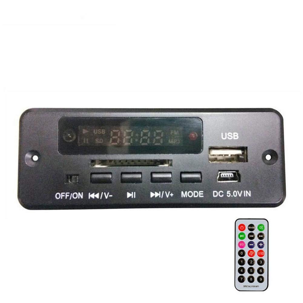 L/à Vestmon Carte de d/écodeur Bluetooth MP3 sans Fil pour Voiture Module de Radio Audio pour Voiture avec Port auxiliaire dans Le Port USB Fente pour Carte TF T/él/écommande