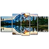 Startonight Glass Wall Art Acrylic Decor Set Mirror of the Mountains, 5 Stars Gift and a Contemporary Clock Set of 5 Total 35.43 X 70.87 Inch Original Artwork