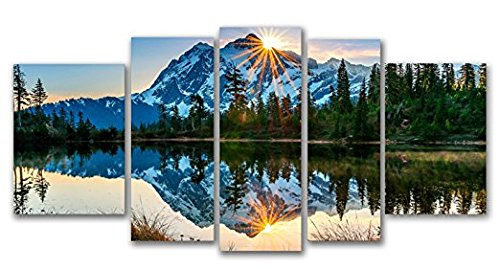 Startonight Glass Wall Art Acrylic Decor Set Mirror of the Mountains, 5 Stars Gift and a Contemporary Clock Set of 5 Total 35.43 X 70.87 Inch Original Artwork by Startonight